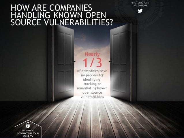 @FUTUREOFOSS #FUTUREOSS HOW ARE COMPANIES HANDLING KNOWN OPEN SOURCE VULNERABILITIES? SECTION 5 ACCOUNTABILITY & SECURITY ...