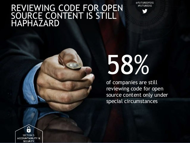 @FUTUREOFOSS #FUTUREOSS REVIEWING CODE FOR OPEN SOURCE CONTENT IS STILL HAPHAZARD SECTION 5 ACCOUNTABILITY & SECURITY 58%o...