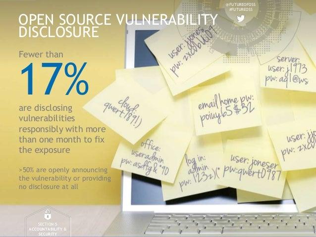 @FUTUREOFOSS #FUTUREOSS OPEN SOURCE VULNERABILITY DISCLOSURE SECTION 5 ACCOUNTABILITY & SECURITY 17%are disclosing vulnera...