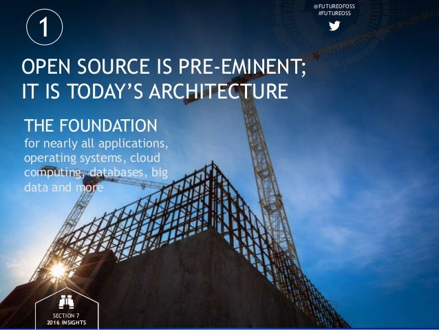 @FUTUREOFOSS #FUTUREOSS OPEN SOURCE IS PRE-EMINENT; IT IS TODAY'S ARCHITECTURE THE FOUNDATION for nearly all applications,...