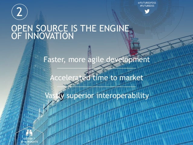 @FUTUREOFOSS #FUTUREOSS OPEN SOURCE IS THE ENGINE OF INNOVATION Faster, more agile development Accelerated time to market ...