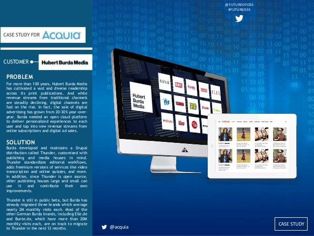 CASE STUDY CUSTOMER CASE STUDY FOR For more than 100 years, Hubert Burda Media has cultivated a vast and diverse readershi...