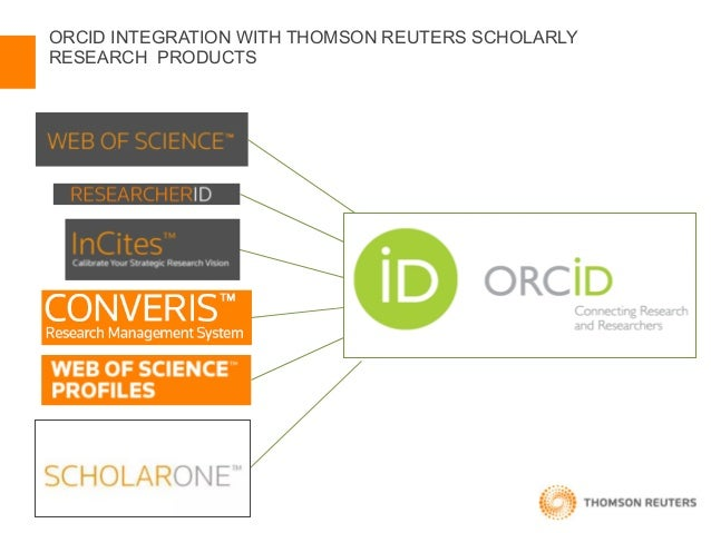 ORCID in platform research lifecycle products - Thomson