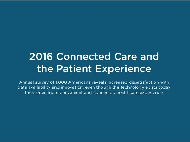 2016 Connected Care and the Patient Experience Annual survey of 1,000 Americans reveals increased dissatisfaction with dat...