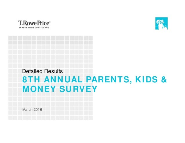 8TH ANNUAL PARENTS, KIDS & MONEY SURVEY March 2016 Detailed Results
