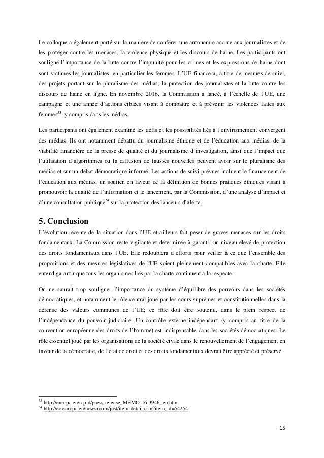 Rapport 2016 de la commission ue sur la charte des droits - Porter plainte pour violence physique ...