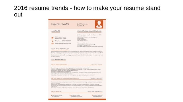 Current Resume Trends 2016 - Today Manual Guide Trends Sample •