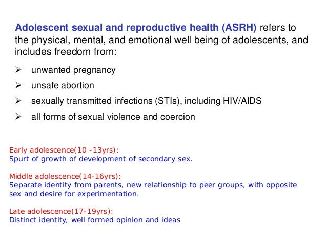 Sexual reproductive health issues