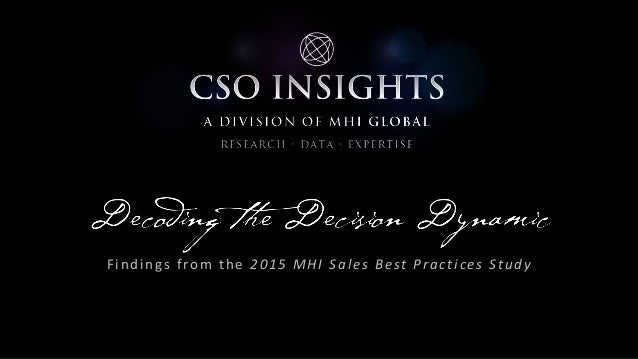 Findings from the 2015 MHI Sales Best Practices Study