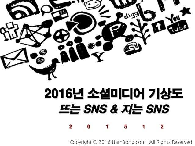 2016년 소셜미디어 기상도 뜨는 SNS & 지는 SNS 2 0 1 5 1 2 Copyright © 2016 JJamBong.com | All Rights Reserved