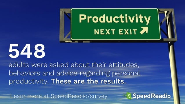 Learn more at SpeedRead.io/survey adults were asked about their attitudes, behaviors and advice regarding personal product...