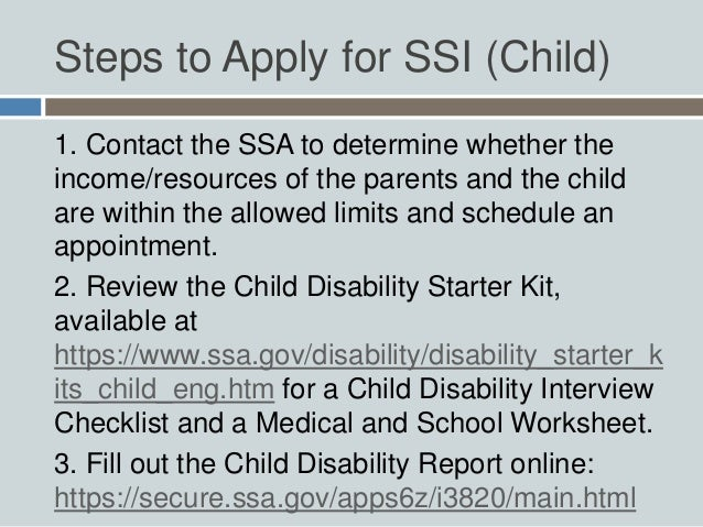 Social Security For Children with Disabilities – Social Security Worksheet
