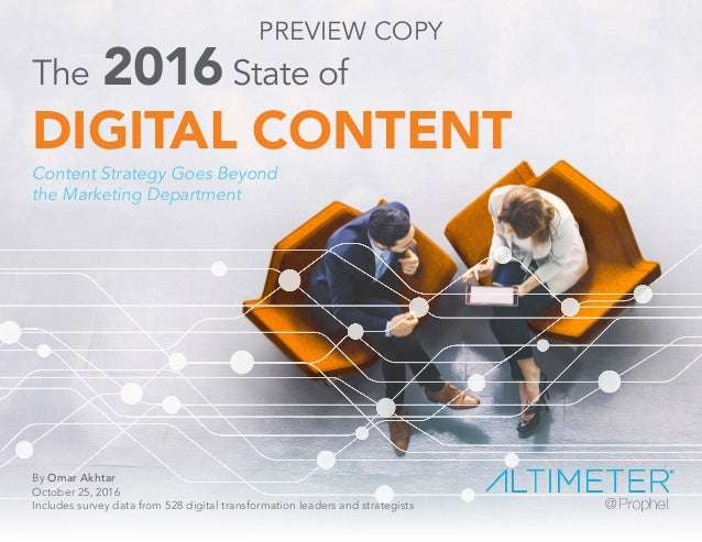 The 2016State of DIGITAL CONTENT Content Strategy Goes Beyond the Marketing Department By Omar Akhtar October 25, 2016 Inc...