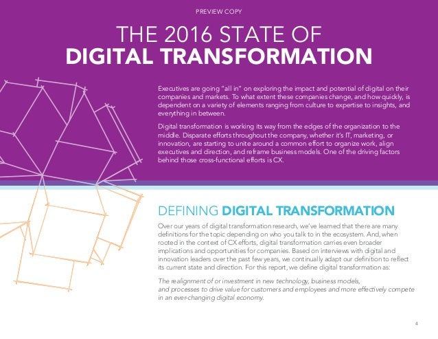 DEFINING DIGITAL TRANSFORMATION Over our years of digital transformation research, we've learned that there are many defin...