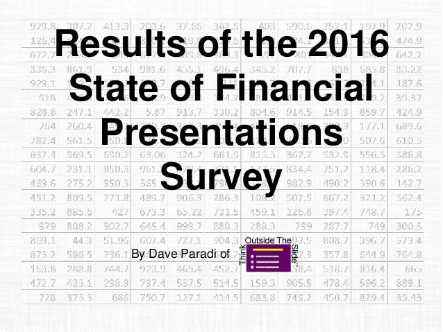 Results of the 2016 State of Financial Presentations Survey By Dave Paradi of