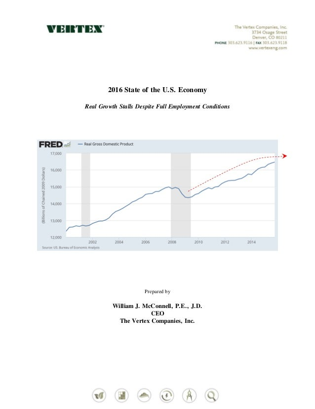 2016 State of the U.S. Economy Real Growth Stalls Despite Full Employment Conditions Prepared by William J. McConnell, P.E...