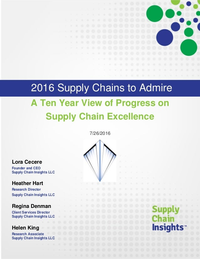 2016 Supply Chains to Admire - Report - 26 July 2016