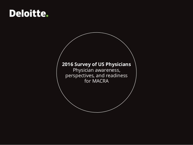 2016 Survey of US Physicians Physician awareness, perspectives, and readiness for MACRA