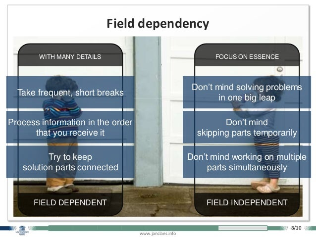 www.janclaes.info Field dependency FOCUS ON ESSENCE FIELD INDEPENDENT WITH MANY DETAILS FIELD DEPENDENT Take frequent, sho...