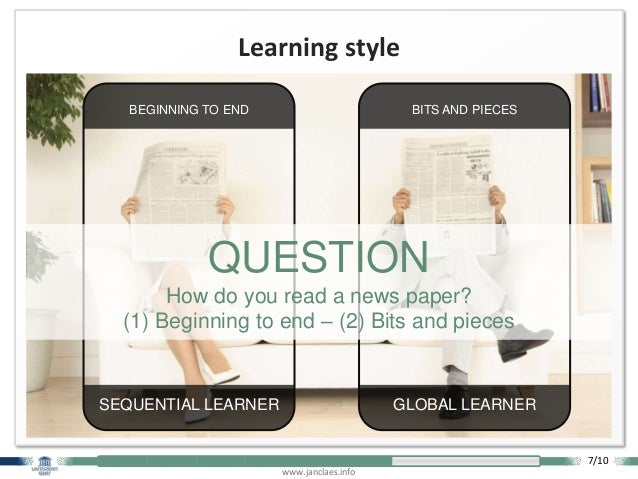 www.janclaes.info Learning style BITS AND PIECES GLOBAL LEARNER BEGINNING TO END SEQUENTIAL LEARNER QUESTION How do you re...