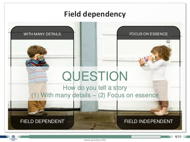 www.janclaes.info Field dependency FOCUS ON ESSENCE FIELD INDEPENDENT WITH MANY DETAILS FIELD DEPENDENT QUESTION How do yo...