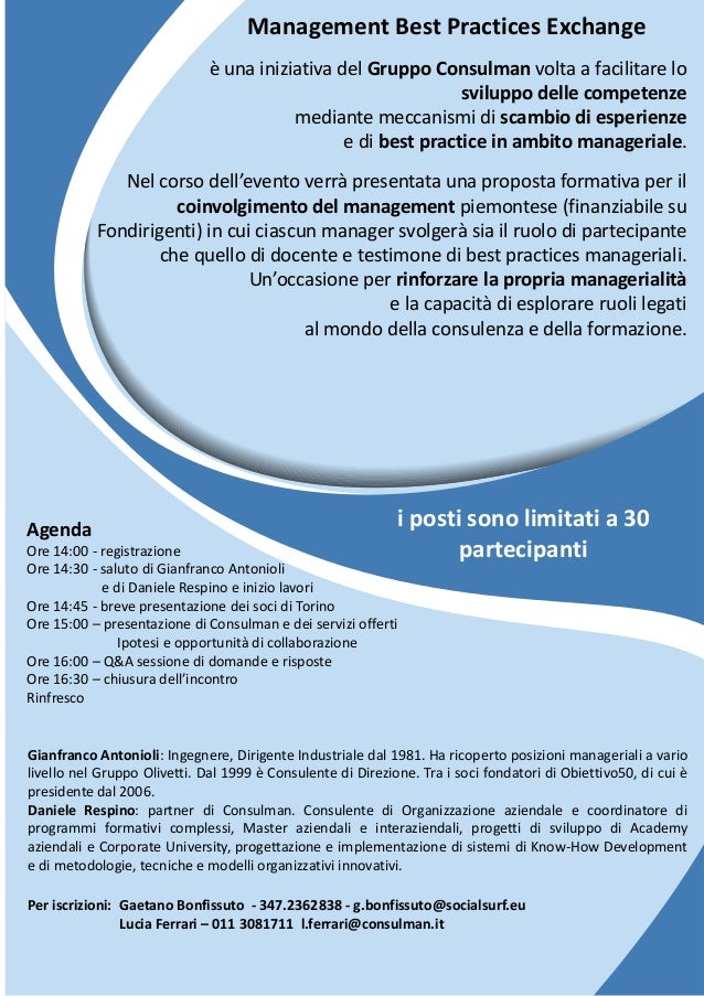 Management best practices exchange 8 aprile 2016 torino for Consul best practices