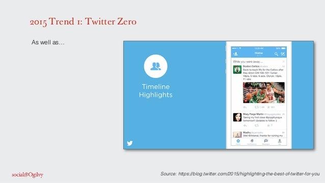 2015 Trend 1: Twitter Zero ! As well as…! ! ! ! ! ! ! ! ! ! ! ! ! ! ! ! ! ! Source: https://blog.twitter.com/2015/highligh...