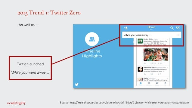 2015 Trend 1: Twitter Zero ! As well as…! ! ! ! ! ! ! ! ! ! ! ! ! ! ! ! ! ! ! Twitter launched ! ! 'While you were away…'!...