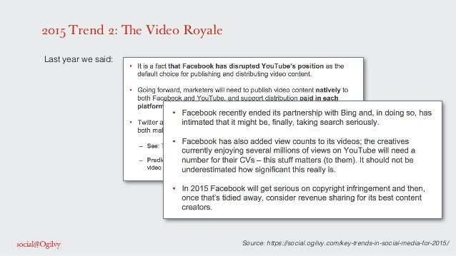 2015 Trend 2: The Video Royale ! Last year we said: ! ! ! ! ! ! ! Source: https://social.ogilvy.com/key-trends-in-social-m...