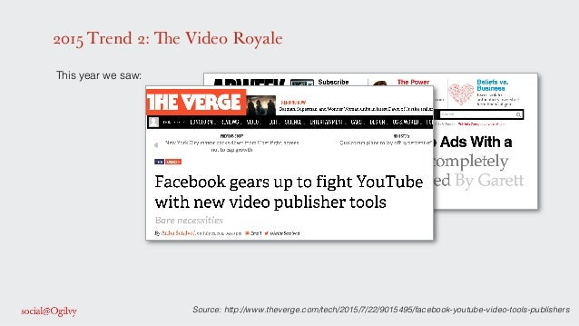 2015 Trend 2: The Video Royale ! This year we saw: ! ! ! ! ! ! ! Source: http://www.theverge.com/tech/2015/7/22/9015495/fa...
