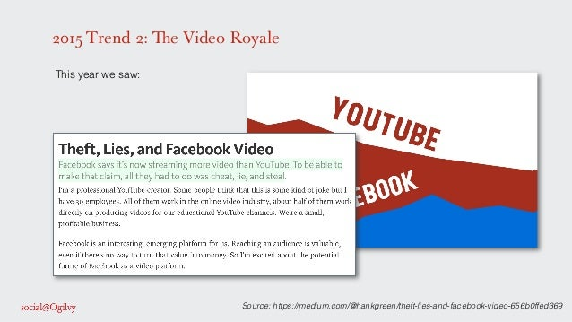 2015 Trend 2: The Video Royale ! This year we saw: ! ! ! ! ! ! ! Source: https://medium.com/@hankgreen/theft-lies-and-face...