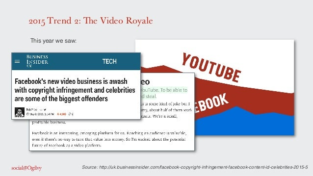 2015 Trend 2: The Video Royale ! This year we saw: ! ! ! ! ! ! ! Source: http://uk.businessinsider.com/facebook-copyright-...