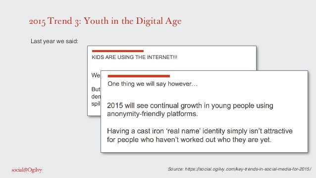 2015 Trend 3: Youth in the Digital Age Source: https://social.ogilvy.com/key-trends-in-social-media-for-2015/! ! Last year...