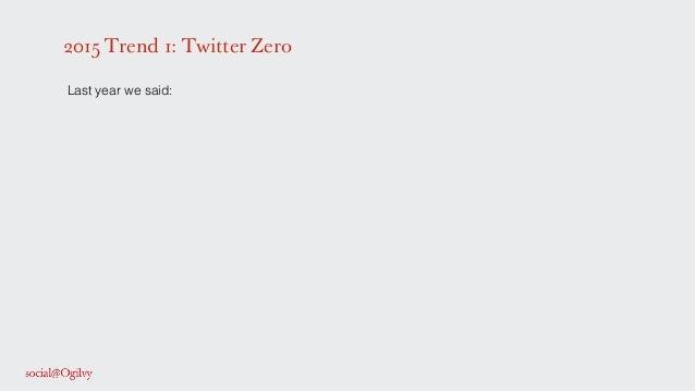 2015 Trend 1: Twitter Zero ! Last year we said: ! ! ! !