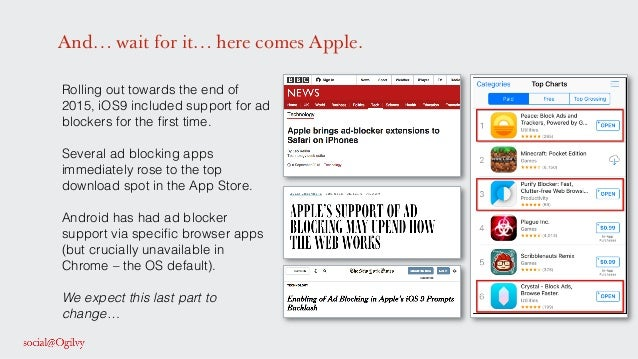 And… wait for it… here comes Apple. Rolling out towards the end of 2015, iOS9 included support for ad blockers for the firs...