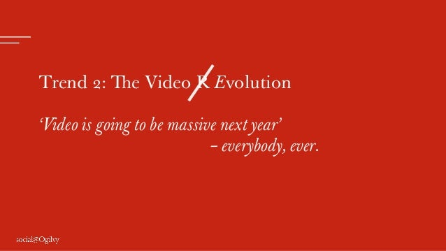 Trend 2: The Video R Evolution 'Video is going to be massive next year' – everybody, ever.