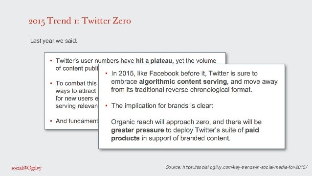 2015 Trend 1: Twitter Zero ! Last year we said: ! ! ! ! Source: https://social.ogilvy.com/key-trends-in-social-media-for-2...