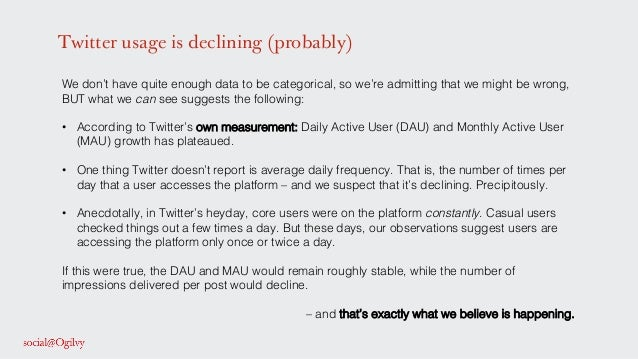 Twitter usage is declining (probably) We don't have quite enough data to be categorical, so we're admitting that we might ...