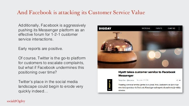 And Facebook is attacking its Customer Service Value Additionally, Facebook is aggressively pushing its Messenger platform...