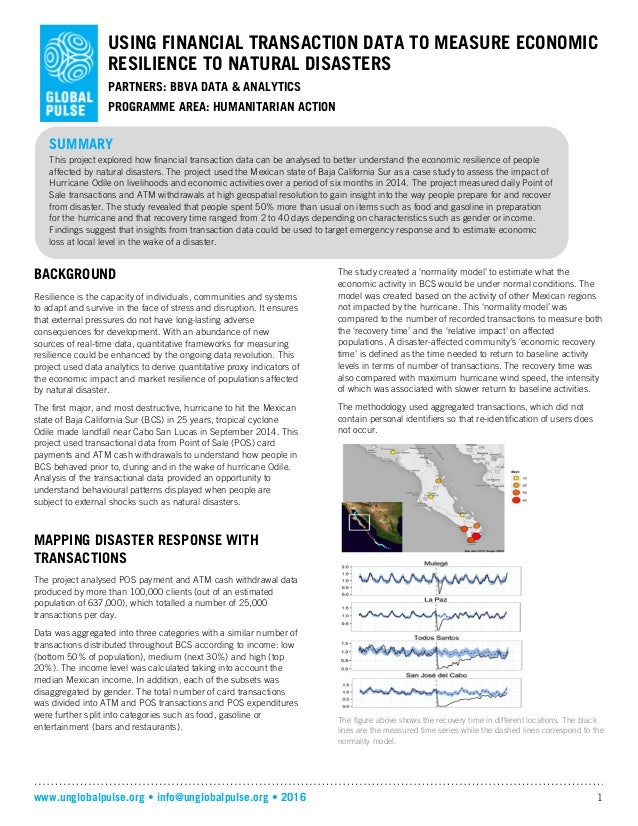 www.unglobalpulse.org • info@unglobalpulse.org • 2016 1 USING FINANCIAL TRANSACTION DATA TO MEASURE ECONOMIC RESILIENCE TO...