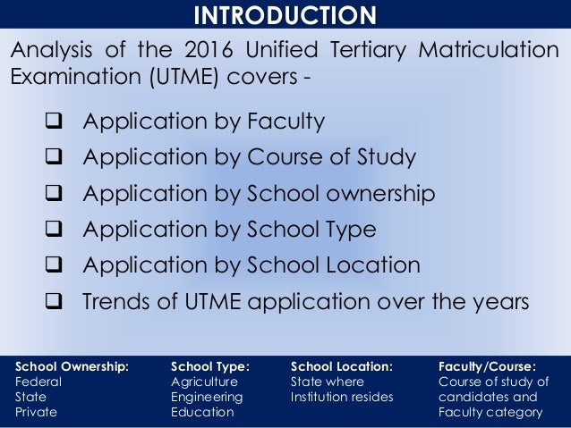 INTRODUCTION Analysis of the 2016 Unified Tertiary Matriculation Examination (UTME) covers -  Application by Faculty  Ap...