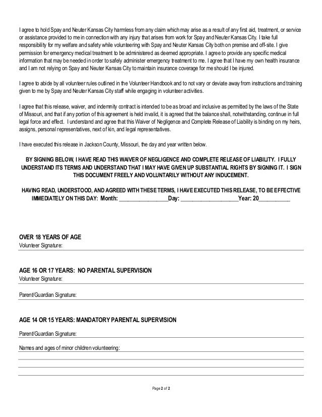 Liability Document. Liability Waiver Forms Free Printable