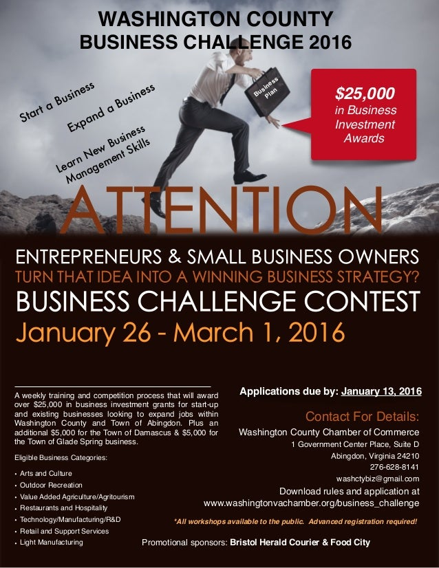 WASHINGTON COUNTY BUSINESS CHALLENGE 2016 *All workshops available to the public. Advanced registration required! Promotio...