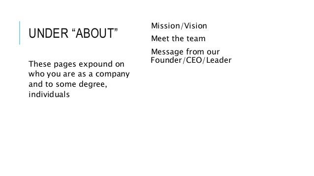 """UNDER """"ABOUT"""" Mission/Vision Meet the team Message from our Founder/CEO/LeaderThese pages expound on who you are as a comp..."""