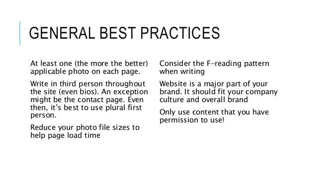 GENERAL BEST PRACTICES At least one (the more the better) applicable photo on each page. Write in third person throughout ...