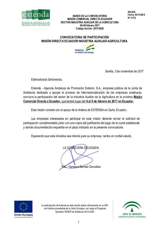 BASES DE LA CONVOCATORIA MISIÓN COMERCIAL DIRECTA ECUADOR SECTOR INDUSTRIA AUXILIAR DE LA AGRICULTURA 06-09 febrero 2017 C...