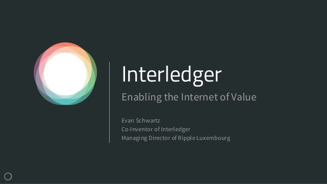 Interledger Evan Schwartz Co-Inventor of Interledger Managing Director of Ripple Luxembourg Enabling the Internet of Value