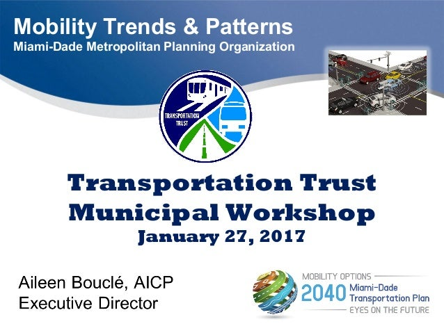 Mobility Trends & Patterns Miami-Dade Metropolitan Planning Organization Transportation Trust Municipal Workshop January 2...