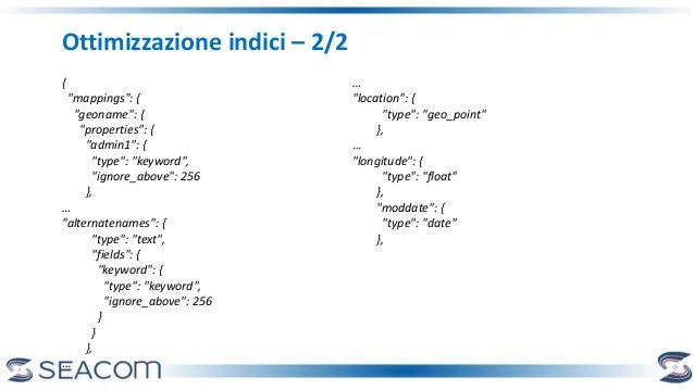 "Ottimizzazione indici – 2/2 { ""mappings"": { ""geoname"": { ""properties"": { ""admin1"": { ""type"": ""keyword"", ""ignore_above"": 25..."