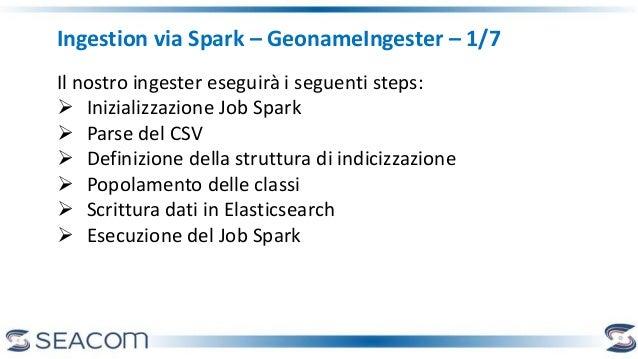 Ingestion via Spark – GeonameIngester – 1/7 Il nostro ingester eseguirà i seguenti steps:  Inizializzazione Job Spark  P...